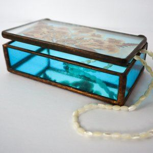 Vintage Stained Glass and Copper Trinket Box